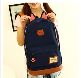 Wholesale Korean Cat Bag - Campus Girls Backpack Women Travel Bag Of Young Men Canvas Backpack Outdoor Sports Bags Cat Ears Cartoon Package New 2016 BLB002
