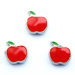 Wholesale 20pcs silver back red apple floating charms for living photo memory glass lockets