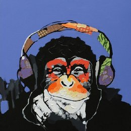 100%Modern Oil Painting Painted By Hand Music Gorilla Modern Art on Canvas Paintings for Living Room