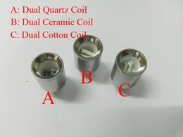 Wholesale 2016 Dual Quartz wax dry herb coil Ceramic Coil for cannon vase bowling glass globe atomizer wax dry herb Glass Skillet Atomizer Ecigs
