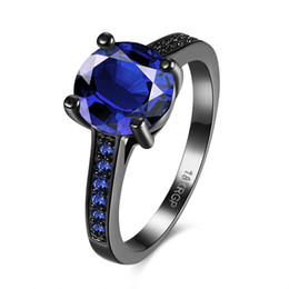 Fashion style women jewelry design blue crystal glass circle ring brass black gun plated ball rings thanksgiving day gift