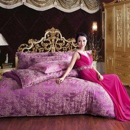 Wholesale Satin Sheet Set Free Shipping - Free shipping Hot 4pcs bed set home textile bed sheet satin jacquard bedding set bed linen queen king