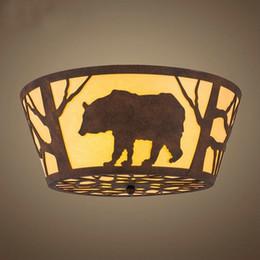 2017 montaje en el techo accesorios de iluminación Led bear flush mount loft industrial vintage lámparas de techo para el hogar sala de estar dormitorio luces barato montaje en el techo accesorios de iluminación