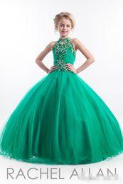 2016 Pageant Dresses Rachel Allan Glitz Cupcake Dress Halter Sleeveless Princess Crystal Beading Green Flower Girls Dress Birthday gowns
