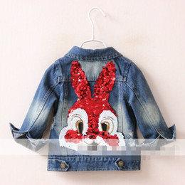 Wholesale Cool Kids Girls Autumn Denim Jacket Vintage Ripped top Clothing Back Sequins Rabit Fashion Girls Top With Buttons