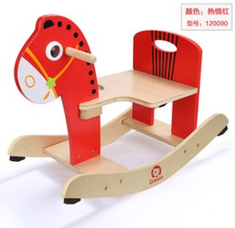 Wholesale Wooden Rocking Horse Animal Kid Chair Children Baby Vintage Rocker Toy Infants Baby Kids Developmental Toy Fast Shipping ZD017A