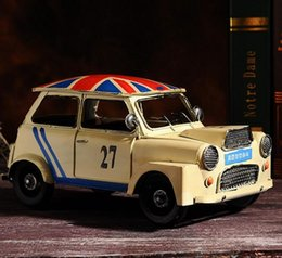 lastest creative zakka crafts handmade yellow classic autocar car model iron metal coffee bar home decor