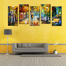 Wholesale 5 Panel Lover Rain Street Tree Lamp Landscape Oil Painting On Canvas Wall Art Wall Pictures For Living Room Home Decor No frame