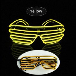 Yellow EL Glasses EL Wire Fashionable Neon LED Light Glowing Sunglasses Rave Costume Party DJ Multiple Colors Black Frame