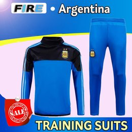 Wholesale 2016 Argentina Maillot de foot training suits Survetement sports wear football shirt Messi soccer jacket long sleeves tight pants