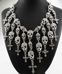 Wholesale Newest Gorgeous Fashion Necklace Skeleton skull Cross Jewelry crystal Department Statement Women Choker Necklaces Pendants