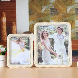 Wholesale 7 inch and inch photo frame rectangle Alena photo frame ABS eco friendly material with artificial pearl embroidered