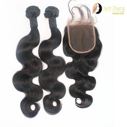 Cuticle Mongolian Hair 1pc Lace Closure With 2pcs Mixed Hair Weave Natural Black Body Wave Unprocessed Human Hair Extension