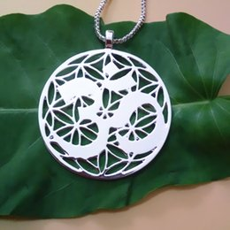 Wholesale Symbol of OM pendant Silver Gold plated necklaces & pendants With 60 cm box chain for women Free Shipping