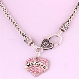 Drop Shipping New Arrival rhodium plated zinc studded with sparkling crystals MY GIRL heart pendant wheat chain necklace