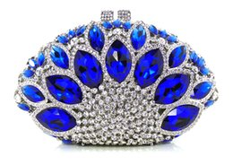 Wholesale Z16 royal blue white color fashion top crystal stones ring clutches bags for ladies nice party bag