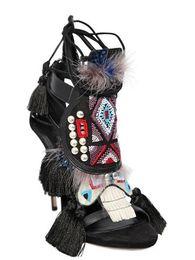 Wholesale 2016 New Arrival Vintage Fur Decor Tassel Lace Up Women Gladiator Sandals Thin Heel Prom Party Dress Sandals Summer Shoes Big Size
