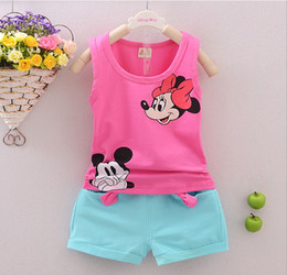Wholesale Toddler Girls Boys Clothing Sets Kids Minnie Vest Shorts Pics Suits New Summer Children Mikey Clothing Sets Baby HJIA284