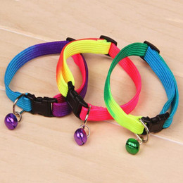 Wholesale 20 Brand New Rainbow Color Adjustable Pet Dog Cat Bell Collar Necklace FS01271