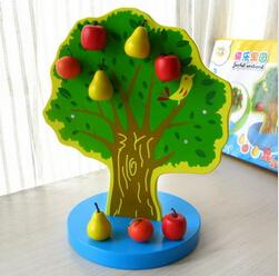 Wholesale Wooden fruit tree magnetic calculation mathematics teaching AIDS educational math wooden toys baby kids learning brinquedos dolll
