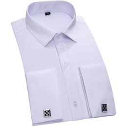 2017 boutons de manchette de smoking Gros-Twill Tuxedo français Cuff Shirt 2016 100% coton Hommes formelle couleur unie Chemise Homme Cufflink Dress Shirts T0042 boutons de manchette de smoking à vendre