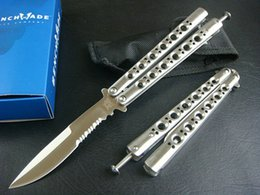 Wholesale Bench made BM42 butterfly knife balisong knife Titanium handle c blade knives