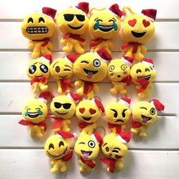 Wholesale Cute Doll Lovers - Christmas QQ Expression Emoji Smiley Doll Keychains Cute Cartoon Plush Pendant Keychains High Quality 9*12 cm XL-P208