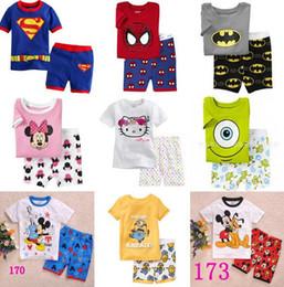 Wholesale Child Car Neck - Kids Boys Minions Pajamas Set Spiderman Batman Children Character Summer Pyjamas Clothing Set for Baby Boys Cars Suits Teenage Mutant Ninja