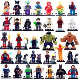 Wholesale 32pcs super heroes minifigures hulk Iron man Batman Spider man Superman Black Panther Action Figures building blocks kids toys bricks