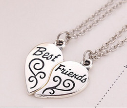 Wholesale 14set set alloy Argent Broken Torn into two splicing Combo Peach Heart lettering best friends in1 pendant necklace Lovers x136