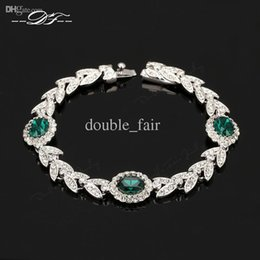 Olive Branch Blue Crystal Imitation Emerald Gemstone Bracelets & Bangles Wholesale Platinum Plated Jewelry For Women Gift Crystal DFH045