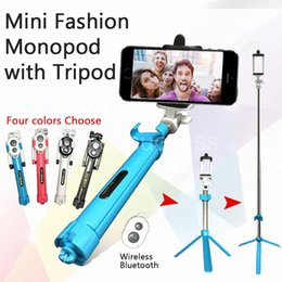 Wholesale With Tripod Stand Bluetooth Remote Shutter Aluminium Telescopic Monopod Selfie Stick For iPhone6S Samsung Galaxy S6 Smartphones