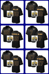 Wholesale 2016 Pro Line Black Gold Collection Football jerseys Miller Manning Harris Jr Elway Davis Atwater with Super Bowl Patch