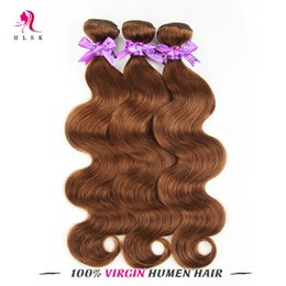 3 Bundles Brazilain Body Weave Brown Hair Extensions Brazilian Human Virgin Hair Products Body Wave HLSK Human Hair Free DHL