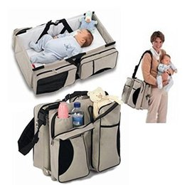 Wholesale Baby Travel Bag Portable Waterproof Baby Crib Folding Bed Baby Bassinet Diaper Bag MobileBro Cream