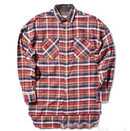 Wholesale FEAR OF GOD shirts men justin bieber flannel Scotland plaid long sleeve shirts brand Hiphop extended oversized Men Cotton shirt