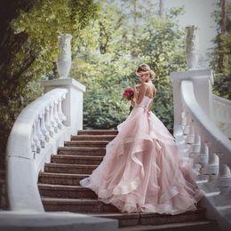Light Pink Country Style Wedding Dresses Sweetheart Sleeveless Wedding Gowns Back Zipper Peplum Tiered Ruffle Custom Made Bridal dress 2016