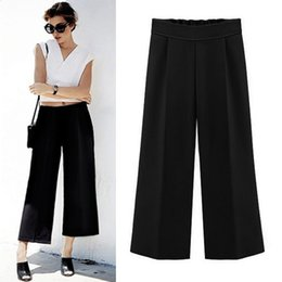 Wholesale Europe style fashion women s trousers summer new slim nine solid straight jeans wide leg pants female N8956 plus size s xl colors