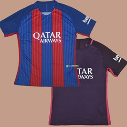 Wholesale 2016 PLAYER VERSION Home Red Away Purple Football Soccer Jerseys Shirt Iniesta Messi Neymar JR Pique Suarez Dani Alves Jordi Alba I Rakitic