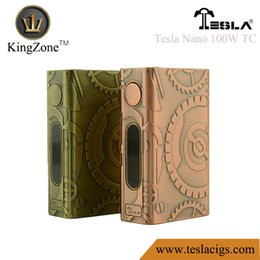 Wholesale 100 Original Tesla Nano W TC Box Mod C C W mAH Battery Watt Vaporizer Steampunk Antique Brass Antique Copper Vape DHL