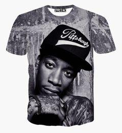 2016New fashion men women 3D t shirt printed character portrait Wiz Khalifa Hip Hop rock singer punk tshirts summer tees clothes