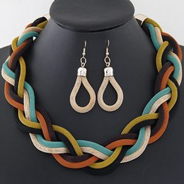 Wholesale Silver Jewellery Necklace Sets - 10color African Costume Jewelry Sets Braid Twist Chain Necklace Set Women Bohemian Jewelry Sets Womens Jewellery Indian Jewerly