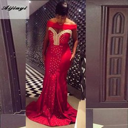 Promotion robe avant serrure Au large de la serrure à l'épaule Neck Robes de soirée rouge Sexy Bling Beads Front Mermaid Evening Party Plus Size Evening Gowns Long Prom Party Gown