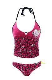 7-16Y) Girls swimwear sets, hello kitty tankini, girls beach wear, kids swimsuit sets with bow, kitty bikini for Girls free shipping