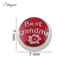 Round Shape Letter Best Grandma Alloy Floating Charm DIY Floating Locket Charm for Living Memory Glass Locket