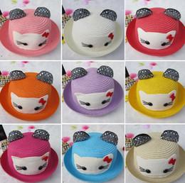 Wholesale Summer Cute Boys Girls Bowknot Kitty Cat Straw Hats Family Cowboy Jazz Kids Children Bow Sunhat Sand Beach Color KB437