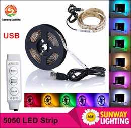 Wholesale Smd Led For Car - DC 5V Led Strips 5m RGB SMD5050 60LED m Flexible LED Strip for TV Car Computer Bike Bicycle Tent Christmas Festival Party Lighting