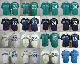 Wholesale Seattle Mariners Jersey Robinson Cano Nelson Cruz Ken Griffey Jr Felix Hernandez Austin Jackson White Blue Green Cream
