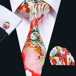 Mens Silk Ties Red Green White Mix Color Floral Business Wedding Neck Tie Set Include Tie Cufflinks Hankerchief Necktie N-1222