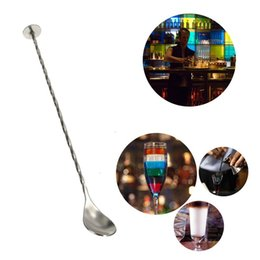 Wholesale 150pcs cm Stainless Steel Cocktail Mixer Bar Puddler Stirring Mixing Spoon Ladle Stirrer Martini Mojito Margarita Tool ZA0562